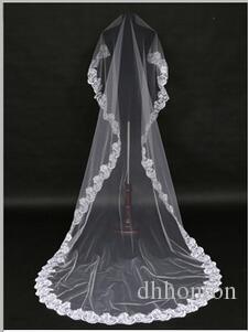 Velo da sposa lungo Velo da sposa economico squisito One Layer bordo in pizzo Lunghezza Cattedrale perline Velo da sposa Accessori da sposa HT71
