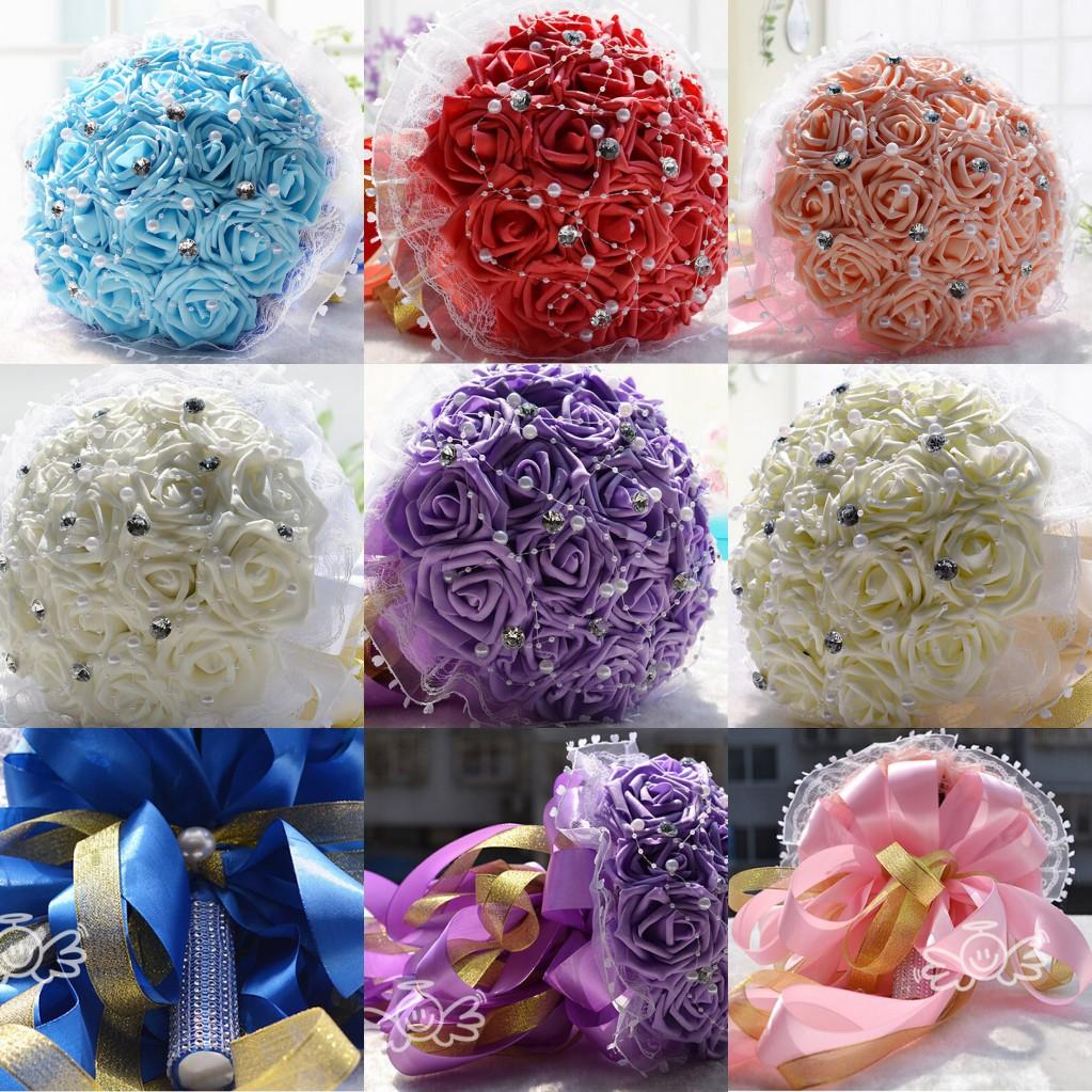 Silk Flower Bouquets Do Yourself: Artificial Pearls Wedding Bouquet Flowers Crystal Beads