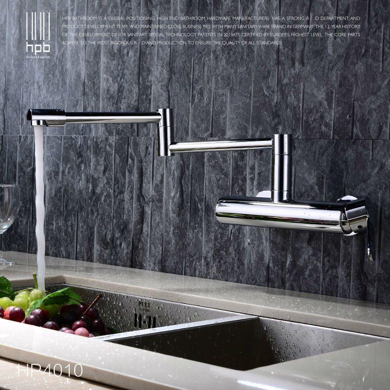 HPB Contemporary Brass Folding Kitchen Mixer Tap Sink Faucet Wall ...