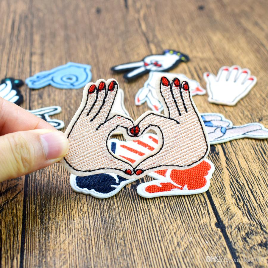 Hand Gestures Embroidered Patches for Clothing Iron on Transfer Applique Patch for Bags Jeans DIY Sew on Embroidery Sticker