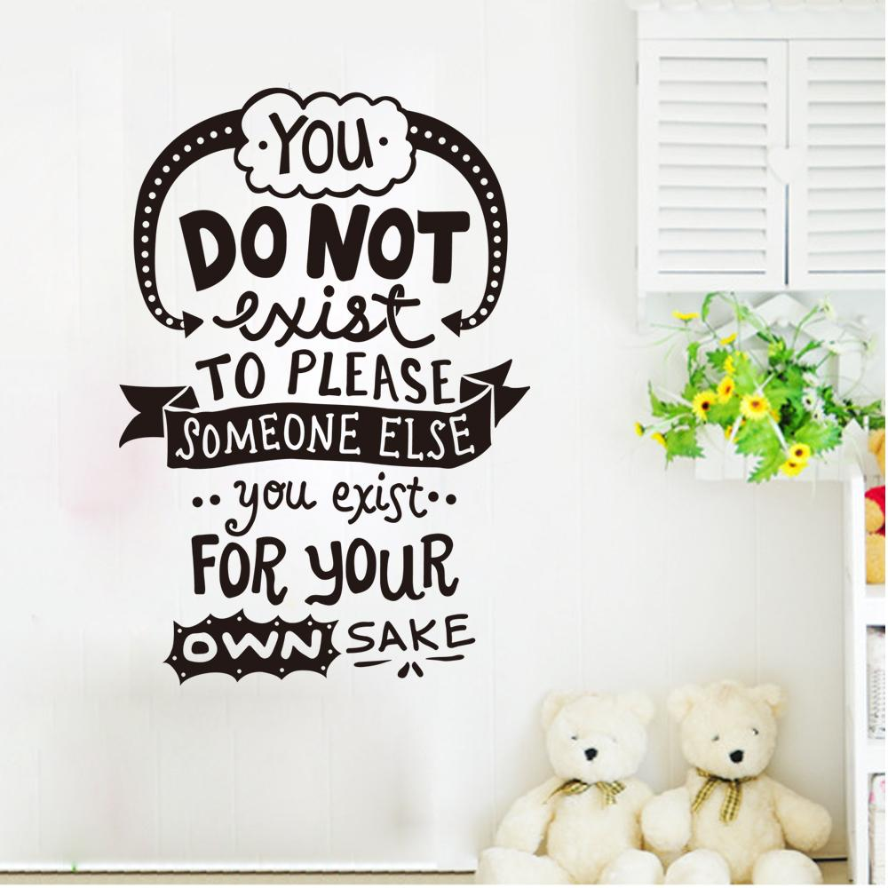 You don't exit to please someone, you exit for your own sake wall quote decal sticker English Letter Wall Mural Poster Sticker Decor