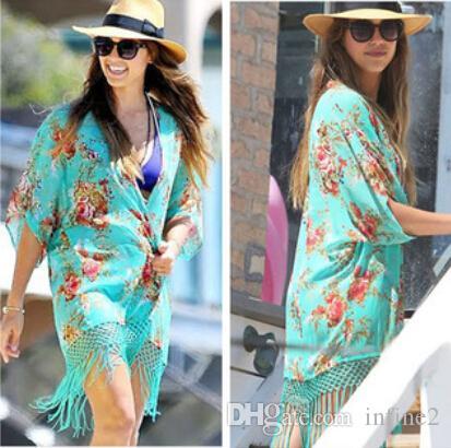 NUOVE donne della moda Kaftan Beach Camicia Sexy Costumi da bagno donna Bikini Beach Cover Up stampa Costume da bagno Cover Ups Beach Wear Sarong