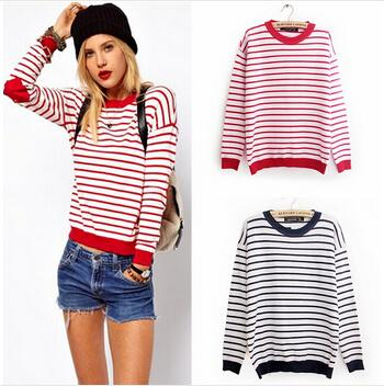 Fashion Navy Blue/Red And White Striped Sweater Women Heart Elbow ...