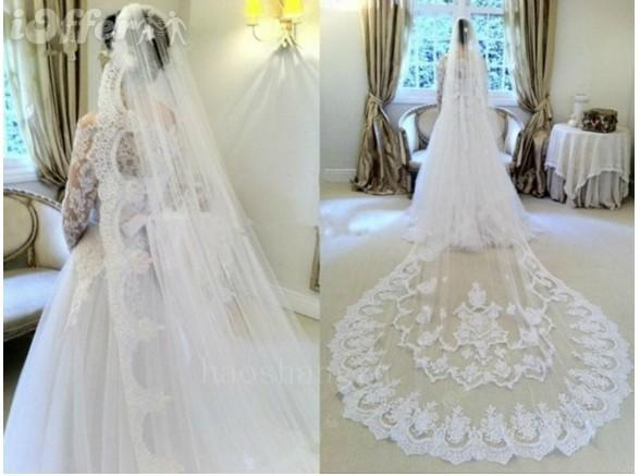Customize Cathedral Length Wedding Veil 1 Layer Lace Trim With