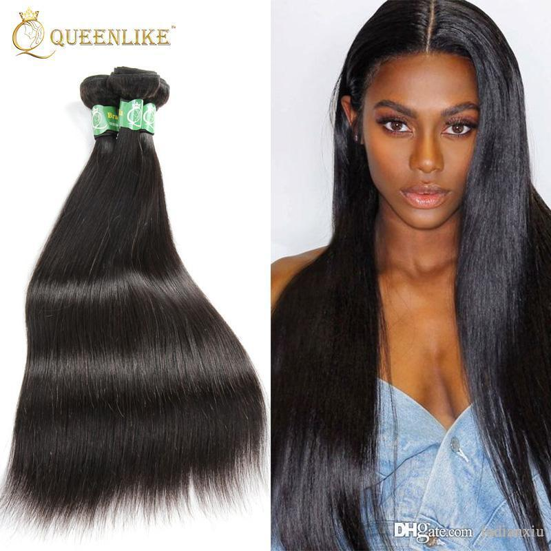 Brazilian Virgin Hair Weave Bundles Silk Silky Straight 1b Double