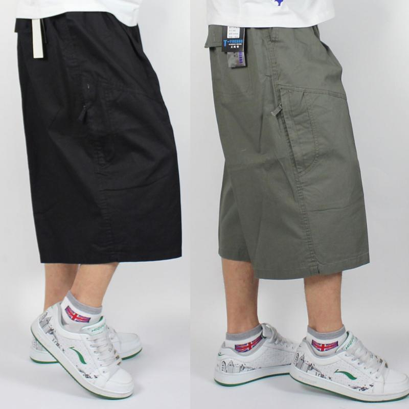 2017 Plus Size Big Fat Mens Long Cargo Shorts Calf Length Cotton ...