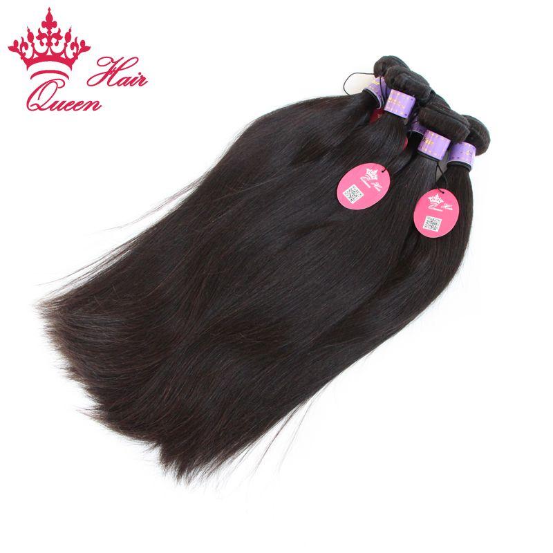 Loja oficial da rainha Loja Malaysian Virgem extensões de cabelo humano em linha reta cor natural # 1b pode tingir envio rápido