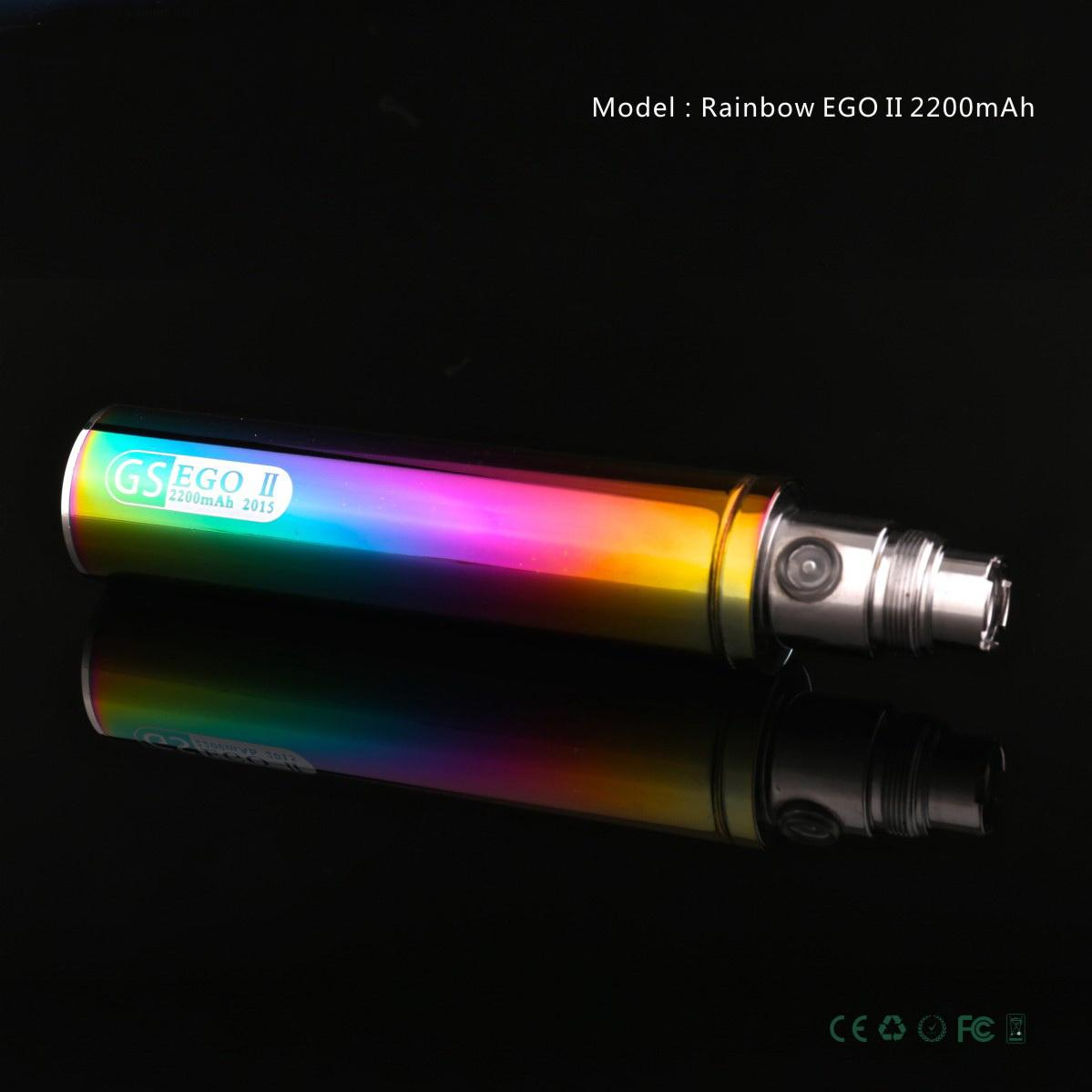 100% Original GS Ego II 2200mAh Battery Edition Rainbow Vaporizer Battery Rechargeable Batteries EGO 2 for H2S Atomizer