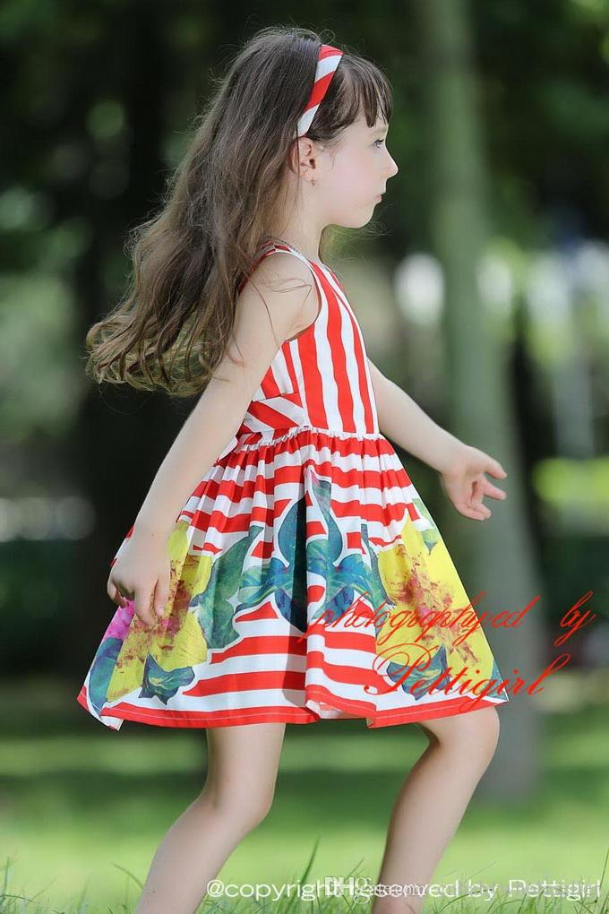 Pettigirl 2016 Summer Baby Girls Flower Dress With Red Stripe And Print Floral Children Dresses For Kids Clothing GD80828-125F