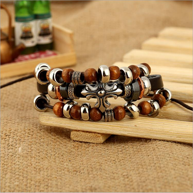 Newly Design Handmade Charms Bracelets Fashion Retro Cross Infinity Charms For Men Leather Beads Bracelets Bangles Jewelry