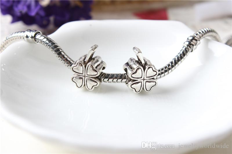 Replacement Lucky Clover Alloy Charm Bead Fashion Women Jewelry Stunning Design European Style For Pandora Bracelet