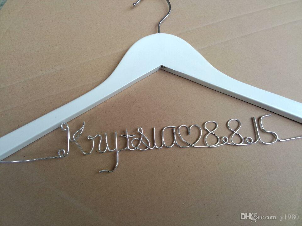 Personalized Wedding Dress Hanger Bride Groom Hangers Name Bridesmaid Engagement Gift Personalised Gifts From