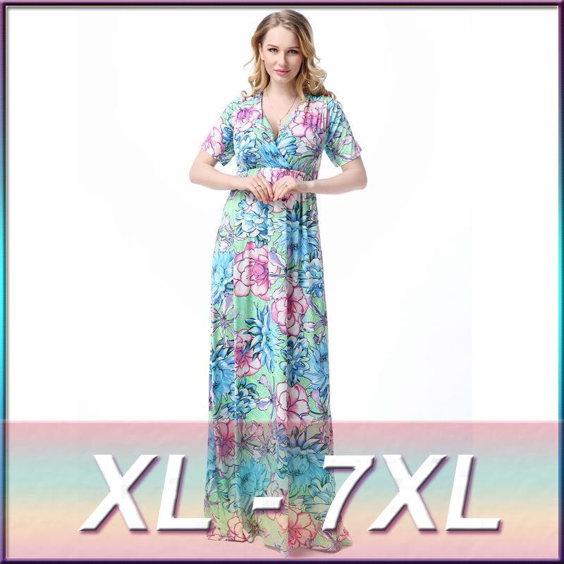 xl 7xl large plus size women 039 s maxi long xl 7xl large plus size women's maxi long light blue flowers print,7xl Womens Clothing