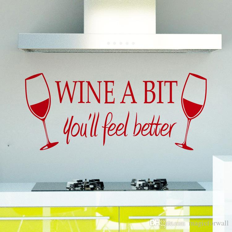 Wine A Bit You will Feel Better Wall Quote Decal Sticker Two Wine Glasses Wall Art Mural Poster Decor Kitchen Wallpaper Graphic