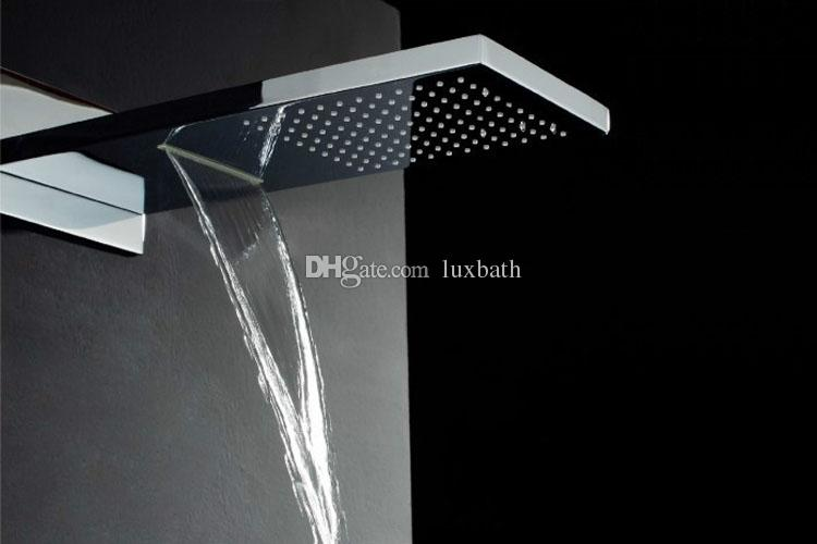 2019 Wholesale Luxury Solid Brass Chrome Large Concealed Waterfall Bathroom Shower Faucet in wall rain shower