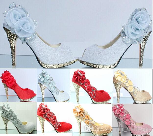 2015 Mousseux Ouvert Orteils Chaussures De Mariage Piscine Bouche Fleur Fleur Perles Peu Profond Talon Rose Argent Or Rouge Chaussure De Mariée pour les Robes