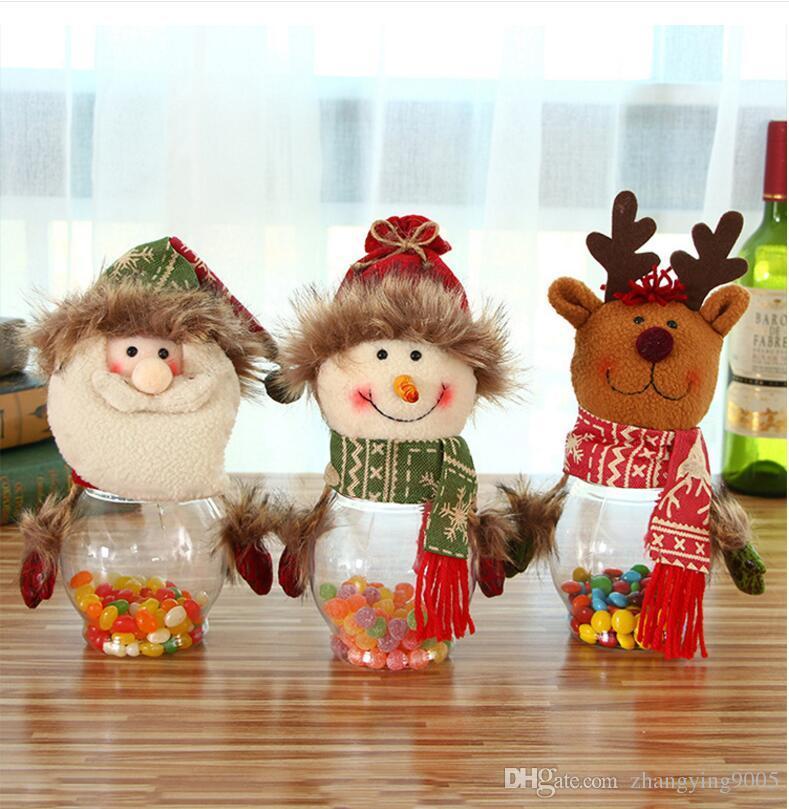 2017 venta caliente festiva decoraciones de navidad para santa claus ciervos muñeco de nieve caramelo tarro decoración 10 * 25 cm envío gratis