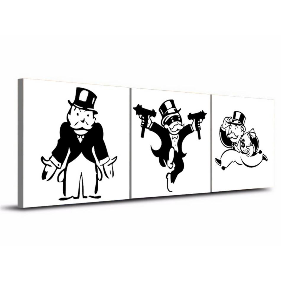 Alec Monopol Graffiti ,3 Pieces Home Decor HD Printed Modern Art Painting on Canvas /Unframed/Framed