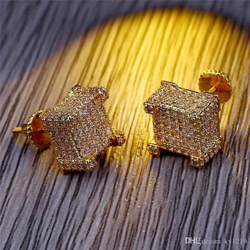 Fashion Screw back CZ Earrings Stud Men Brand Designer Hiphop Jewelry Gold Silver Zircon Pierced Ear Stud Jewellry Wholesale