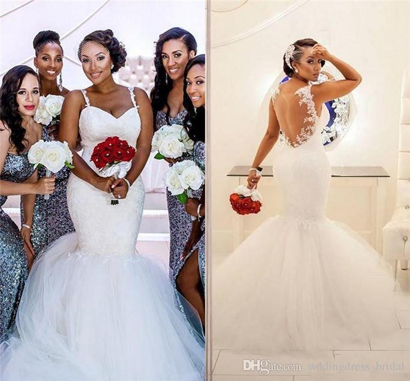 2019 New Illusion Back Mermaid Wedding Dresses Spaghetti