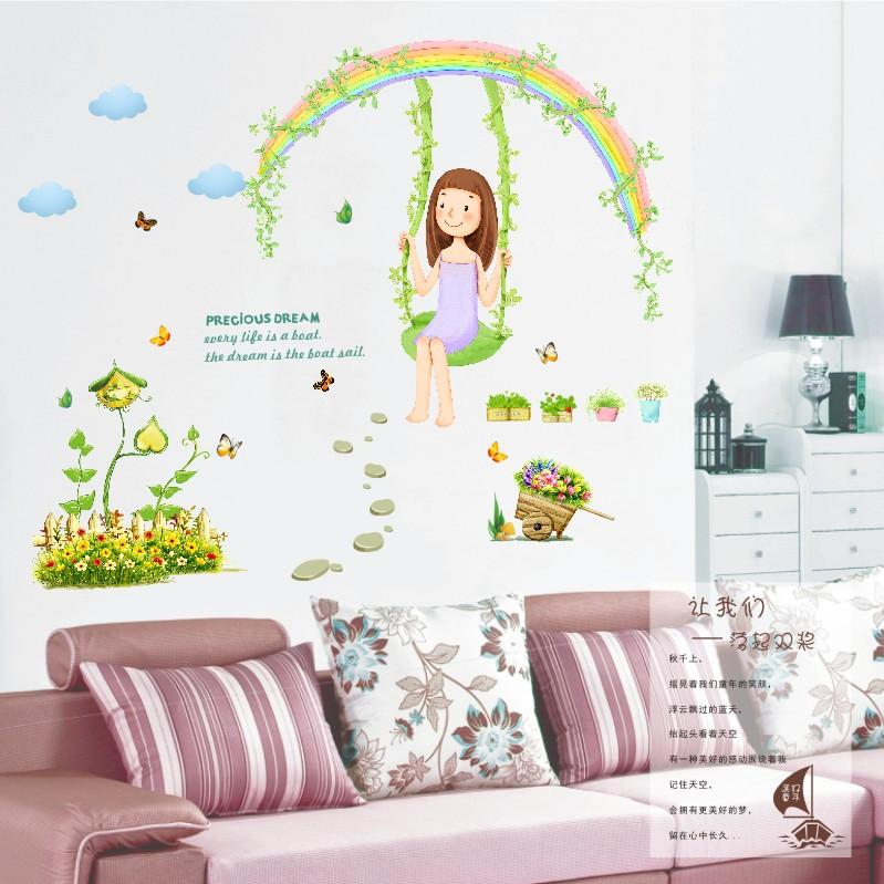 Removable Kids Room Girl Princess Room Decoration Rainbow Swing Stickers  Lovely Nursery Wall Stickers Bedroom Furniture Part 66
