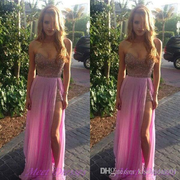 Hot Pink Prom Vestidos Beading Formal Vestidos de Noite Dividir Uma Linha Querida Pescoço Zip Voltar Até O Chão Vestidos de Festa Chiffon