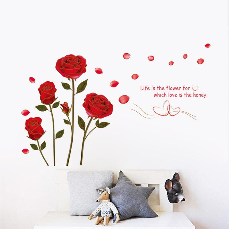 Romantic Rose Flowers Wall Art Bedroom Decorations 6005 Diy Print ...