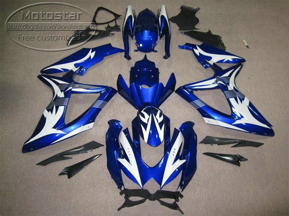 Высокое качество кузова набор для SUZUKI GSXR750 GSXR600 2008-2010 K8 обтекатели K9 GSX-R600/750 08 09 10 белый голубой набор ks79 зализа
