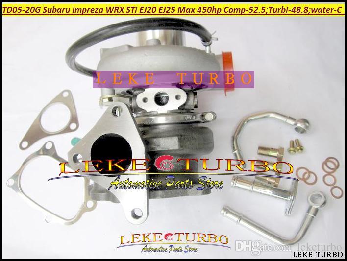 TD05 20G 8 TD05-20G TD05-20G-8 Turbo Turbin Turboladdare för SUBARU Impreza WRX STI-motor EJ20 EJ25 max 450HP + packningar + rör max 450HP