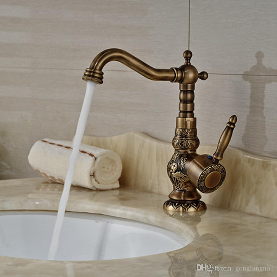 Wholesale And Retail Luxury Antique Brass Bathroom Faucet Embossed Body Vanity Sink Mixer Tap Swivel Spout Kitchen Tap Mixer