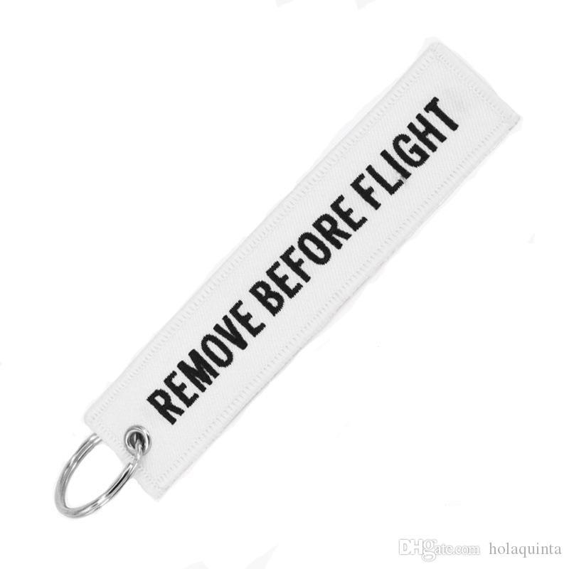 Entfernen vor dem Flug Chaveiro Tag Stickerei Schlüsselbund Schlüsselanhänger für Luftfahrt OEM Schlüsselanhänger Schmuck Kofferanhänger Schlüsselanhänger