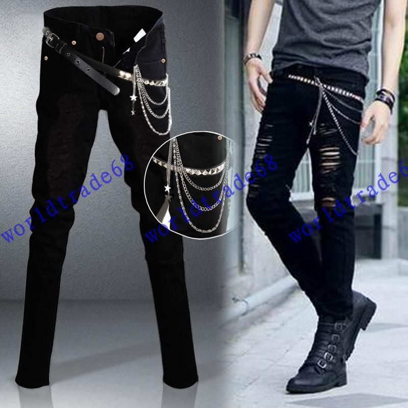 1384809ba Compre 2015 Moda Nuevo Arrancó Skinny Jeans Para Hombre Del Estilo De Rock  De La Personalidad De La Mezclilla De Los Pantalones Delgados Pantalones  Vaqueros ...