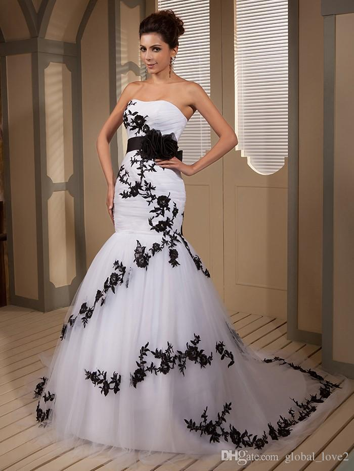 Discount Fabulous Vintage Black And White Wedding Dresses Real ...