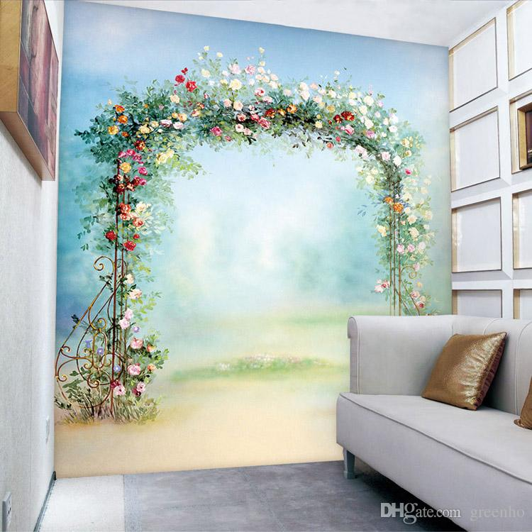 Flowers door photo wallpaper romantic wallpaper custom 3d for Decoration autocollant mural