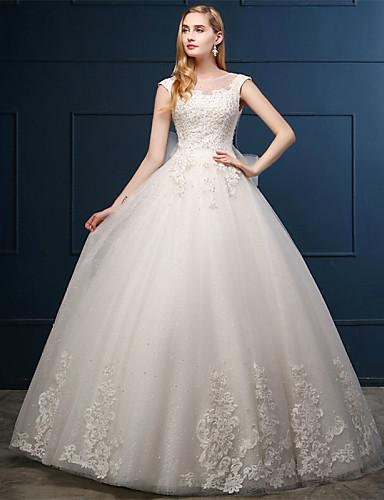 2016 Nieuwe Hot Fashion Gratis Verzending Elegante Baljurk Ivory Floor-Lengte Scoop Kant Bow Applicaties Tule Trouwjurken 234