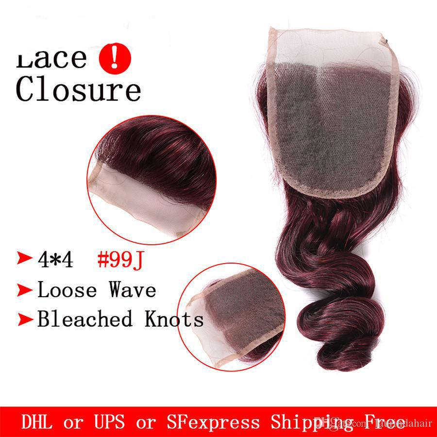 Unprocessed 99j Loose Wave Virgin Hair With Closure #99J Malaysian Human Hair 3 Bundles With Lace Closure Red Hair
