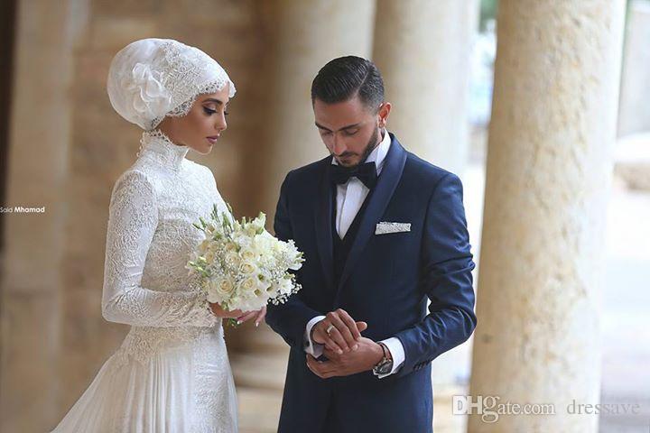 2018 новый урожай высокий воротник с длинными рукавами мусульманские свадебные платья кружева Ближний Восток стиль многоуровневое юбки арабские длинные-line свадебные платья