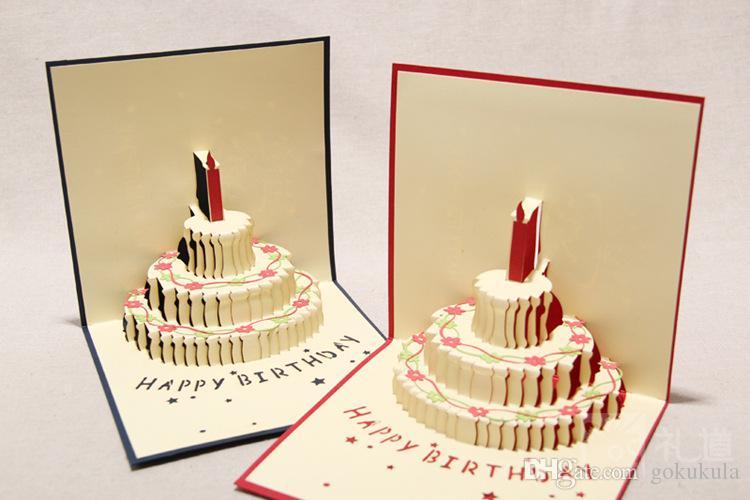 30% off El Yapımı Kirigami Origami 3D Pop UP Doğum Günü Kartları Mum Tasarım ile Doğum Günü Partisi Ücretsiz Nakliye Için
