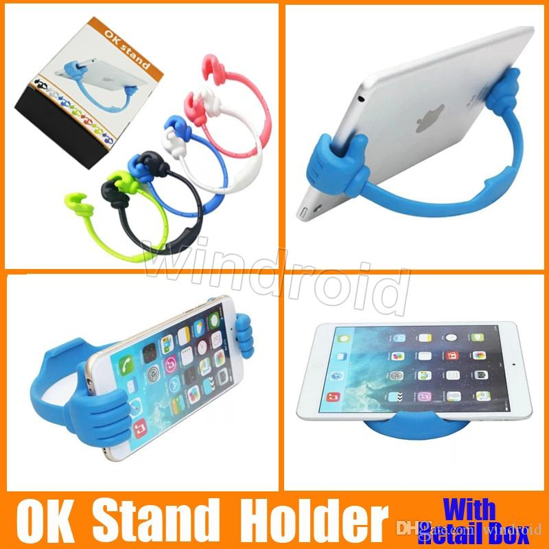 Universal o polegar ok suporte titular para ipad tablet pc iphone 5 5s 6 6 plus samsung s3 s4 s5 nota 3 4 dhl frete grátis com caixa de varejo 50