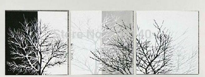 Satın Al Soyut Siyah Beyaz Ağacı Gergin Yağlıboya Tuval Kış Manzara