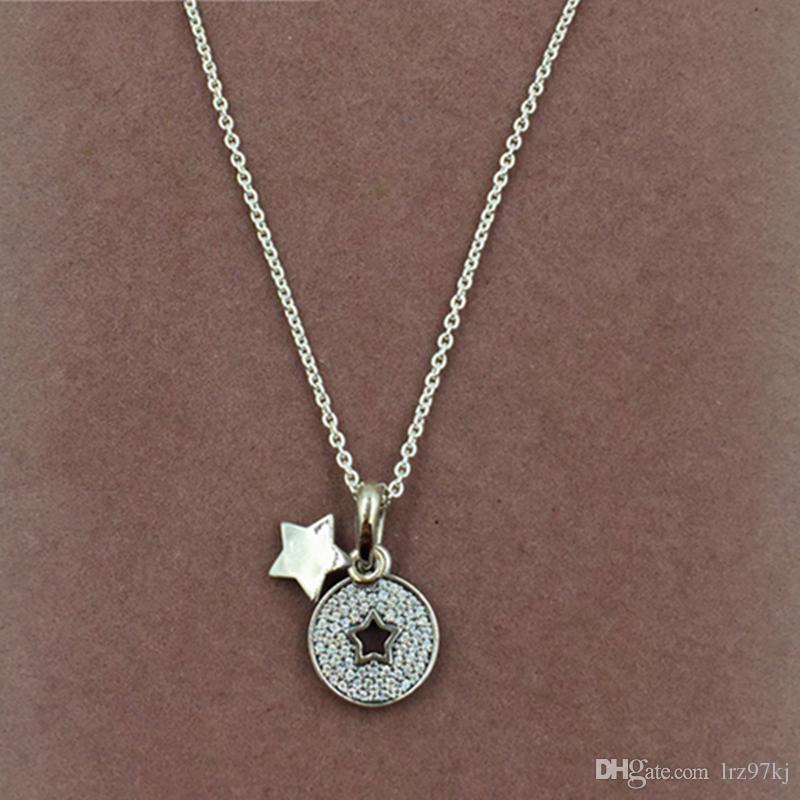 9bad1c9638062 High-quality 925 Sterling Silver Celebration Stars Necklace & Pendant for  European Pandora Style Charms and Beads Pendants