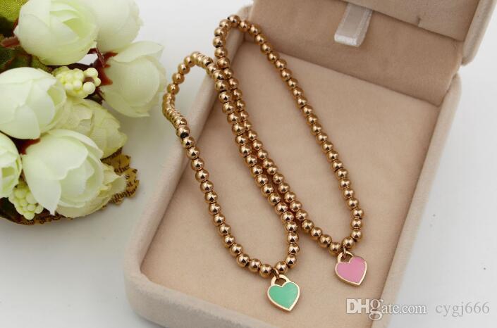 Coréen bleu poudre plastique coeur pour toujours amour solide bracelet en acier corde élastique titane acier bijoux en or rose