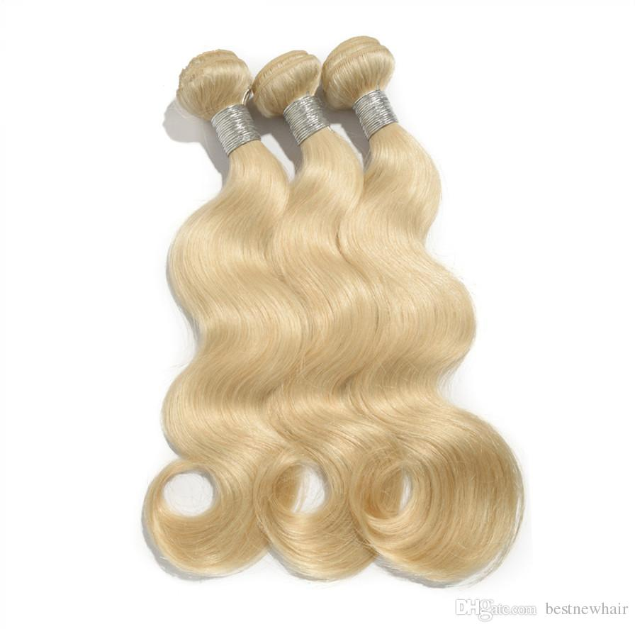 Bleach Blonde Color #613 Brazilian Body Wave Virgin Hair Brazilian Human Hair Weave Bundles SOFT THICK Tangle Free Hair Extensions Dyeable