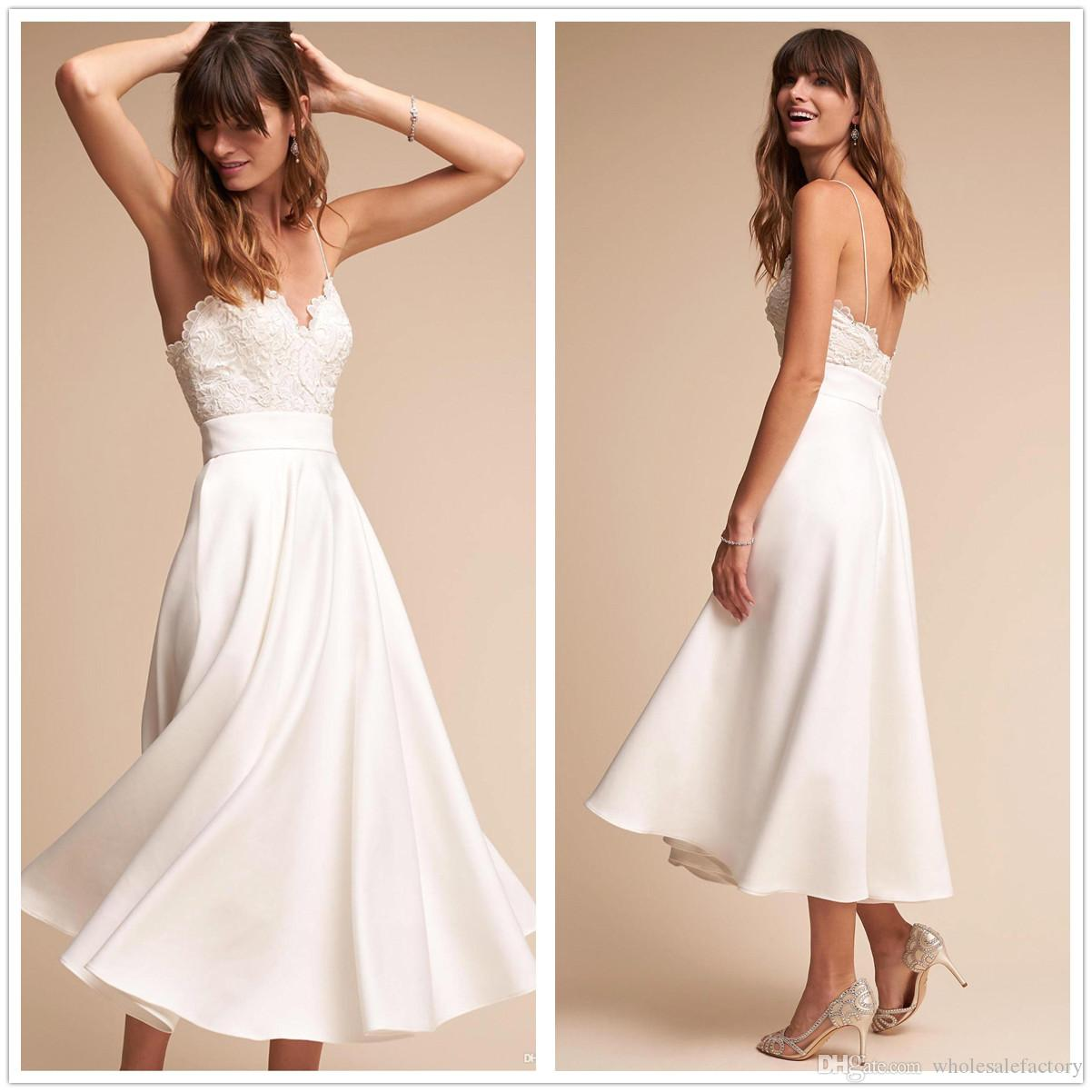 Discount 2018 New Spaghetti Straps Lace Short Wedding Dresses Satin A Line Tea Length Backless Summer Beach Bridal Gowns With Buttons: Ed T Length Wedding Dresses At Reisefeber.org