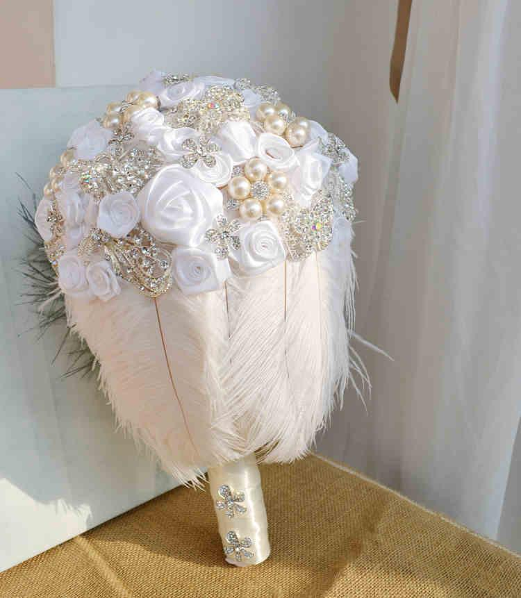 White rose feather wedding bouquets crystal silk flower wedding wedding bouquets crystal silk flower wedding flowers bridal bouquets artificial flowers rose petals custom bouquet large artifical flowers average cost junglespirit Images