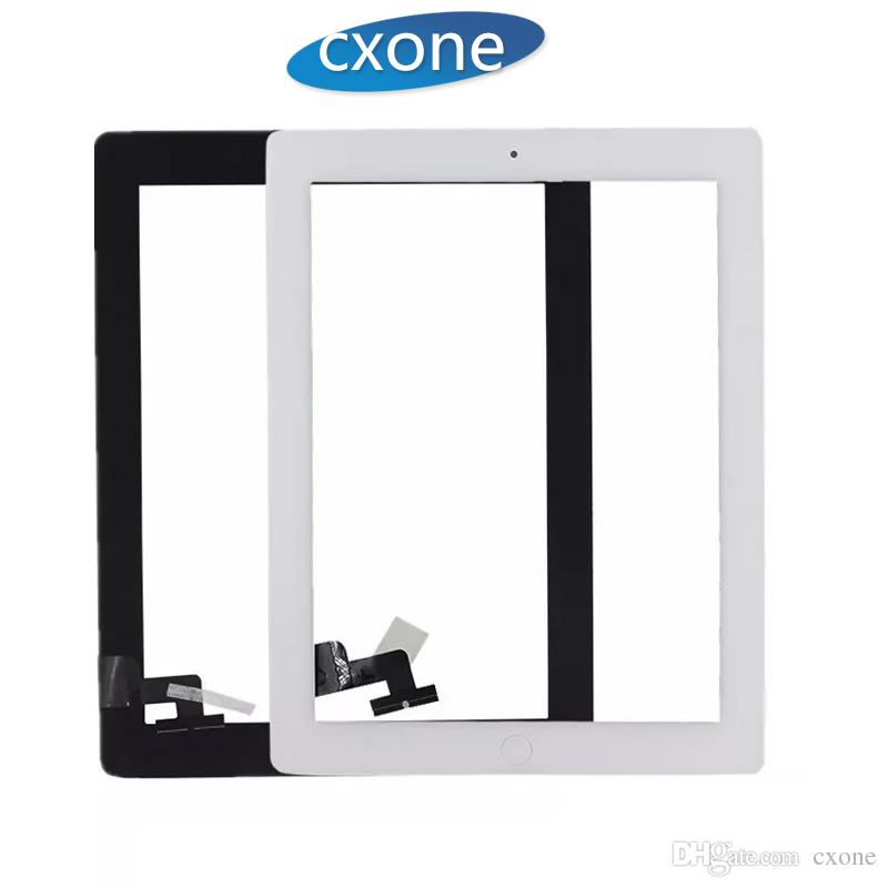 Repair Standar For iPad 2 Touch Screen Part Assembly with home button with  adhesive Replacement Front Glass White Black Fast Delivery
