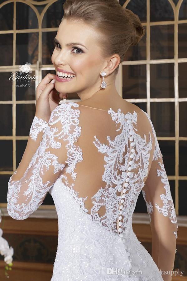 Vestidos de novia de la sirena de las mangas largas románticas Vestidos de novia de encaje apliqueados Apliquen Botón de talla grande 2017 Vestido de Noiva Tray