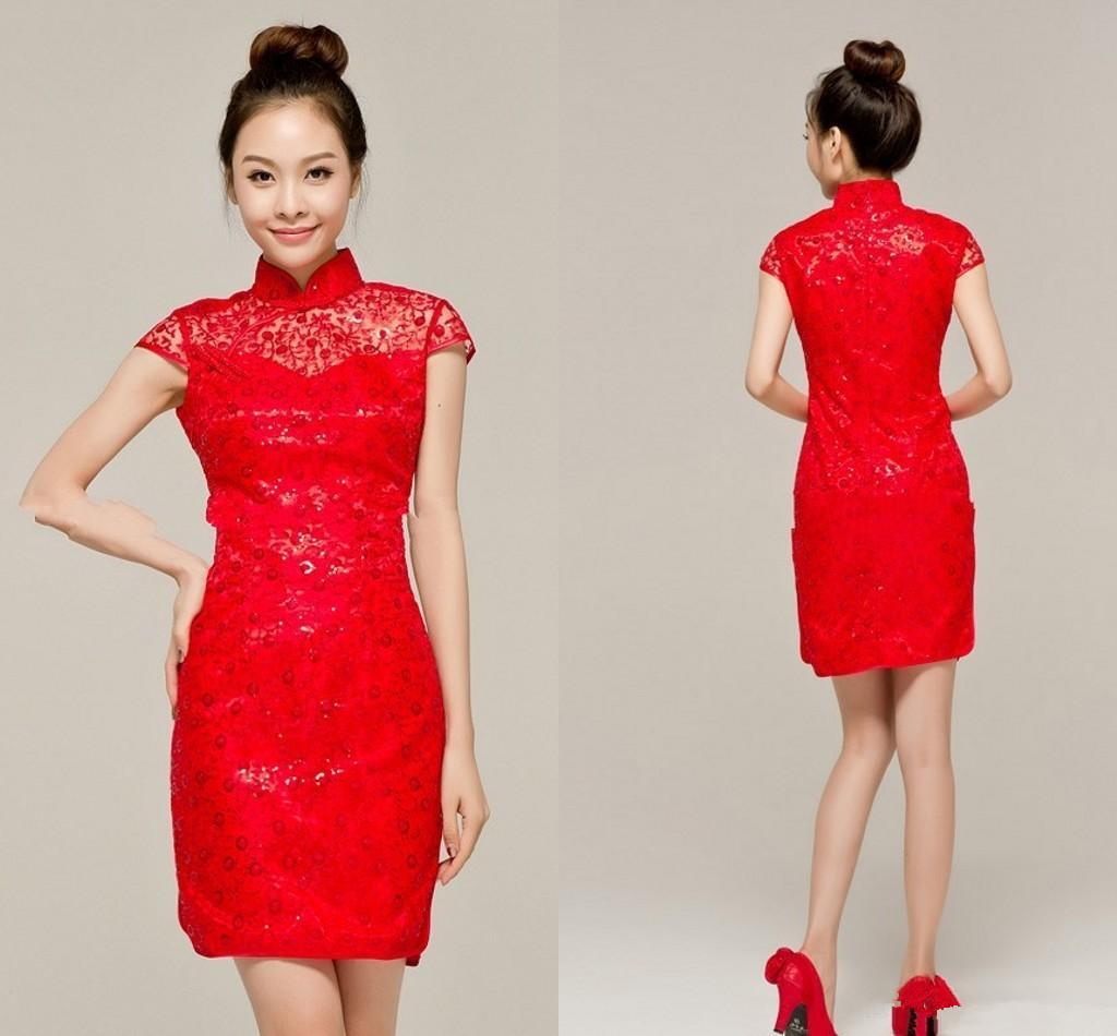 New Design Short Chinese Dress Lace Fashion Women ...