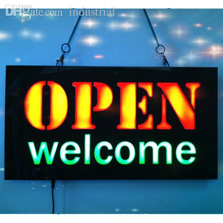 55d858e59 2019 Wholesale New OPEN WELCOME LED Neon Sign WhiteBoard LED Business OPEN  SIGN Animated Motion DISPLAY +On Off Switch Bright Light Neon From  Industrial