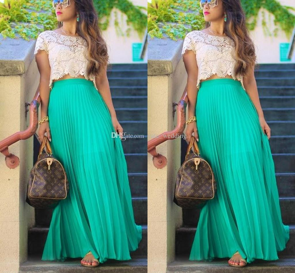 80d6560619bd Pleated Chiffon Long Skirts For Women Fashion Summer High Waist Maxi Skirts  Custom Made Green Beach Girls Party Skirt Canada 2019 From Yate_wedding, ...